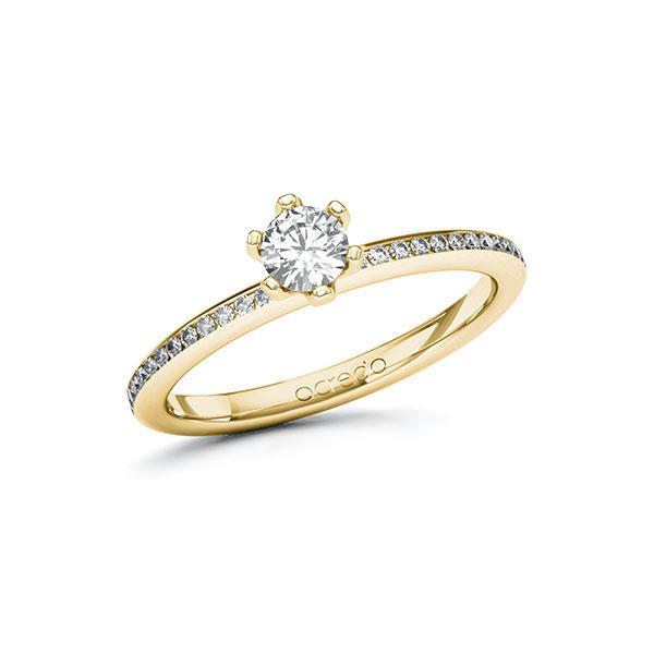 Verlobungsring Diamantring 0,45 ct. G SI & tw, si Gelbgold 585
