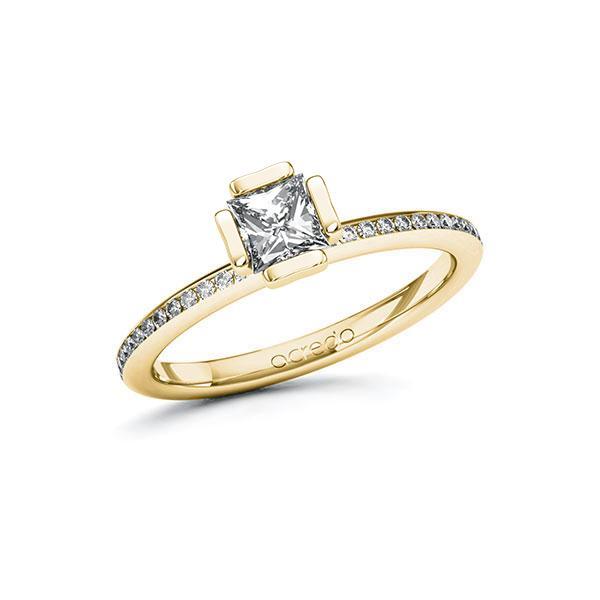 Verlobungsring Diamantring 0,65 ct. G VS & tw, si Gelbgold 585
