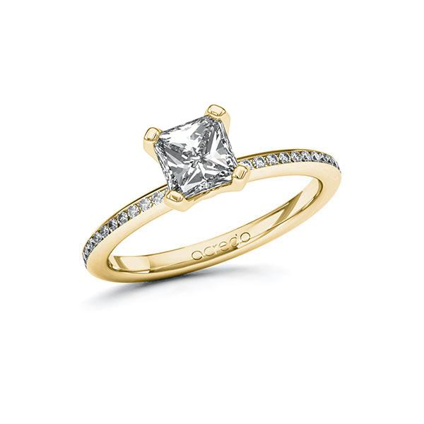 Verlobungsring Diamantring 1,15 ct. G VS & tw, si Gelbgold 585