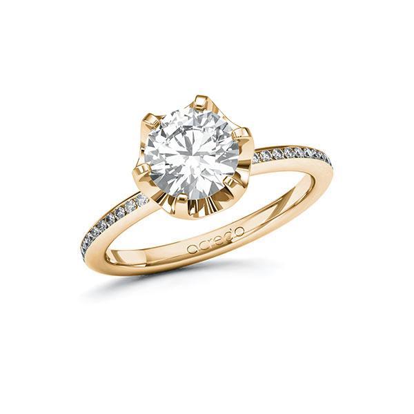 Verlobungsring Diamantring 1,65 ct. G VS & tw, si Roségold 585
