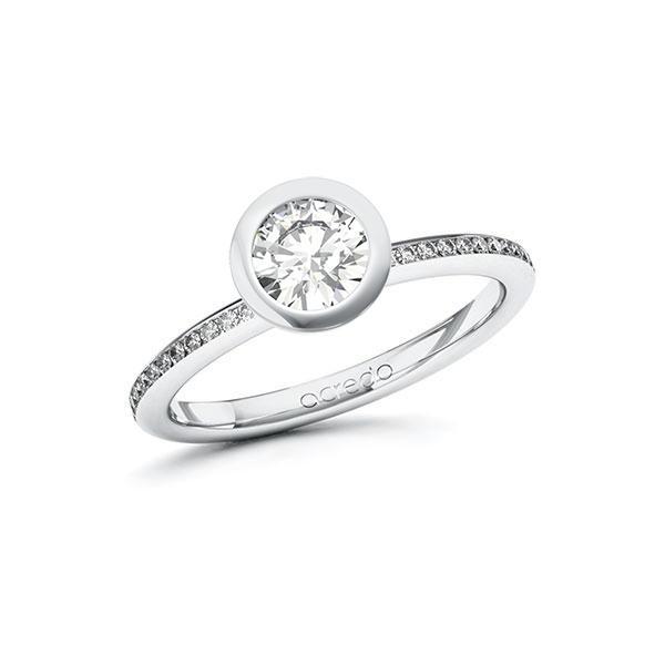 Verlobungsring Diamantring 0,85 ct. G SI & tw, si Weißgold 585