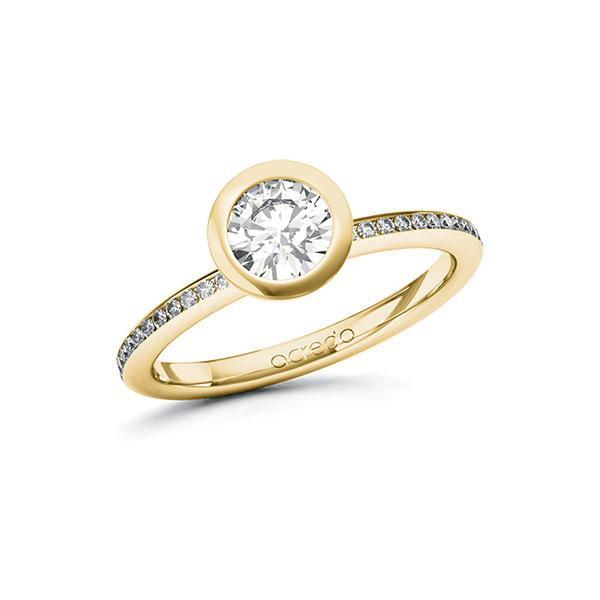 Verlobungsring Diamantring 0,85 ct. G SI & tw, si Gelbgold 585