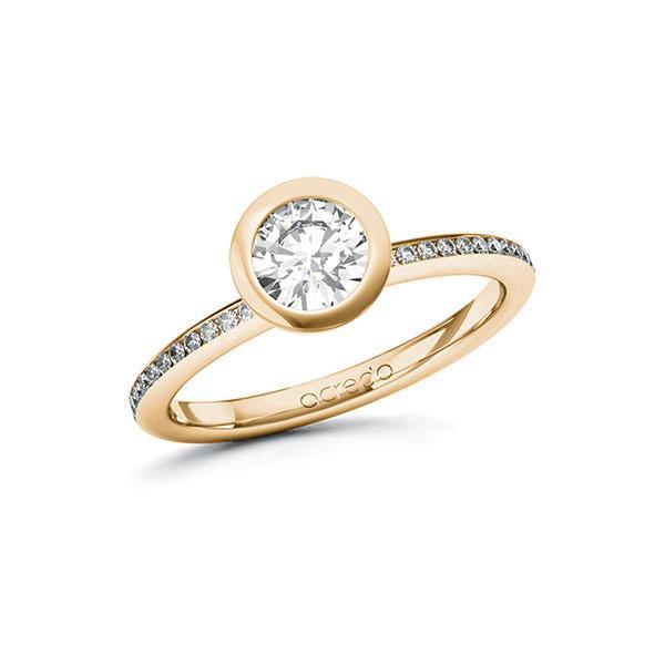 Verlobungsring Diamantring 0,85 ct. G SI & tw, si Roségold 585