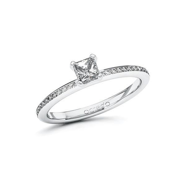 Verlobungsring Diamantring 0,55 ct. G VS & tw, si Weißgold 585