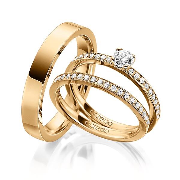 Verlobungsring Diamantring 0,5 ct. G SI & tw, si Roségold 750