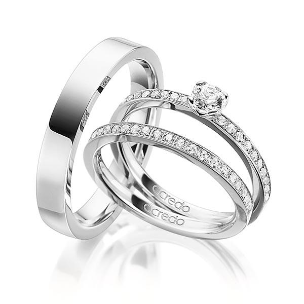 Verlobungsring Diamantring 0,5 ct. G SI & tw, si Weißgold 750