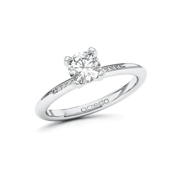Verlobungsring Diamantring 0,75 ct. G SI & tw, si Weißgold 585