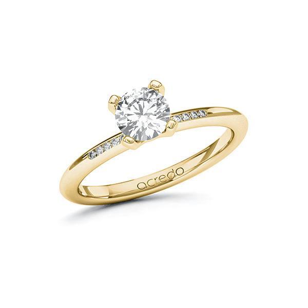 Verlobungsring Diamantring 0,75 ct. G SI & tw, si Gelbgold 585