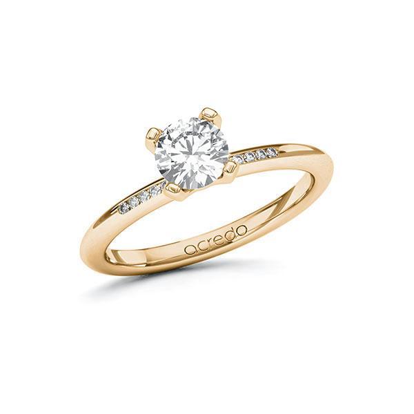 Verlobungsring Diamantring 0,75 ct. G SI & tw, si Roségold 585