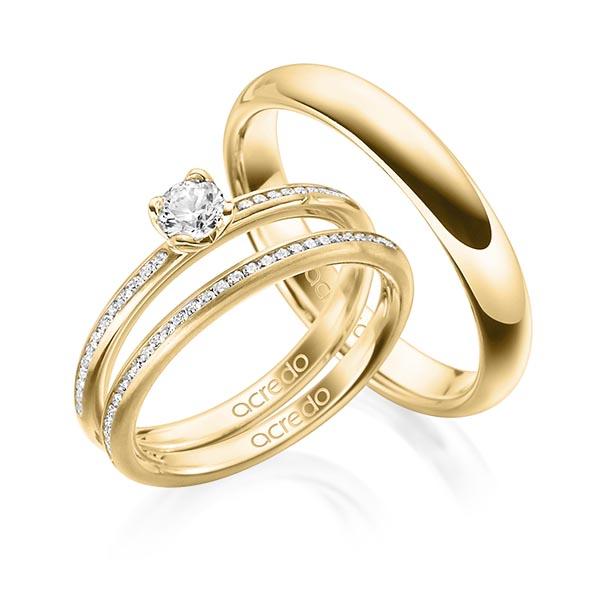 Verlobungsring Diamantring 0,43 ct. G SI & tw, si Gelbgold 750