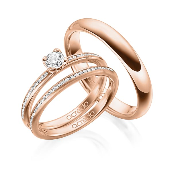Verlobungsring Diamantring 0,43 ct. G SI & tw, si Rotgold 585