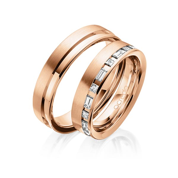 Trauringe Rotgold 585 mit 0,9 ct. tw, si & tw, vs