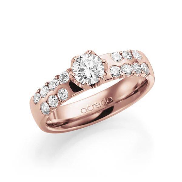 Verlobungsring Diamantring 1,06 ct. G SI & tw, si Rotgold 585