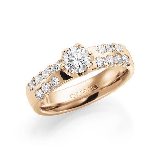 Verlobungsring Diamantring 1,06 ct. G SI & tw, si Roségold 585
