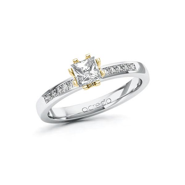 Verlobungsring Diamantring 0,6ct. G VS & tw, si Weißgold 585 Gelbgold 585