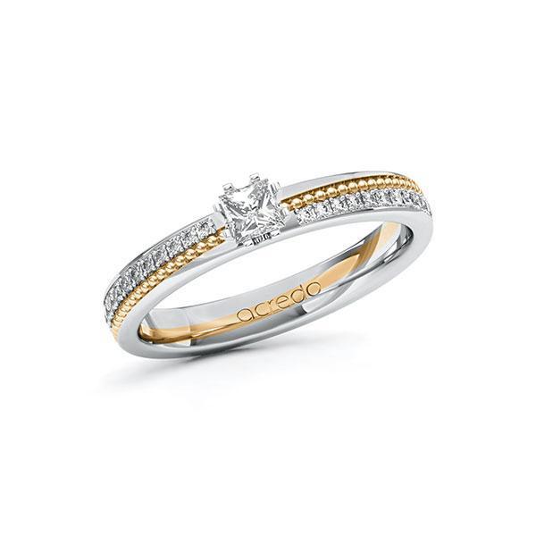 Verlobungsring Diamantring 0,496ct. & tw, si Weißgold 585 Roségold 585