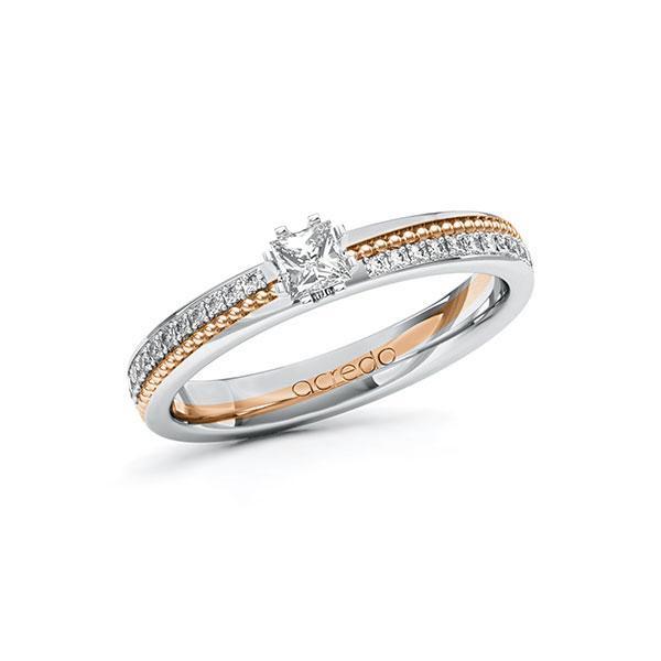 Verlobungsring Diamantring 0,496ct. & tw, si Weißgold 585 Rotgold 585