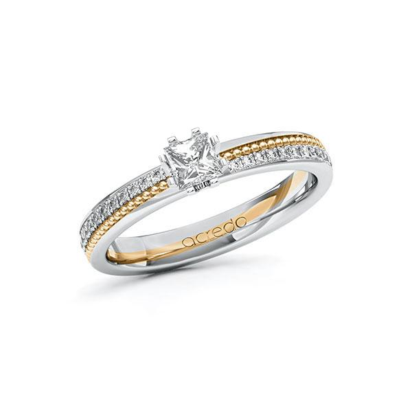 Verlobungsring Diamantring 0,596ct. G VS & tw, si Weißgold 585 Roségold 585