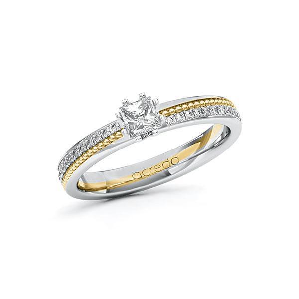 Verlobungsring Diamantring 0,596ct. G VS & tw, si Weißgold 585 Gelbgold 585