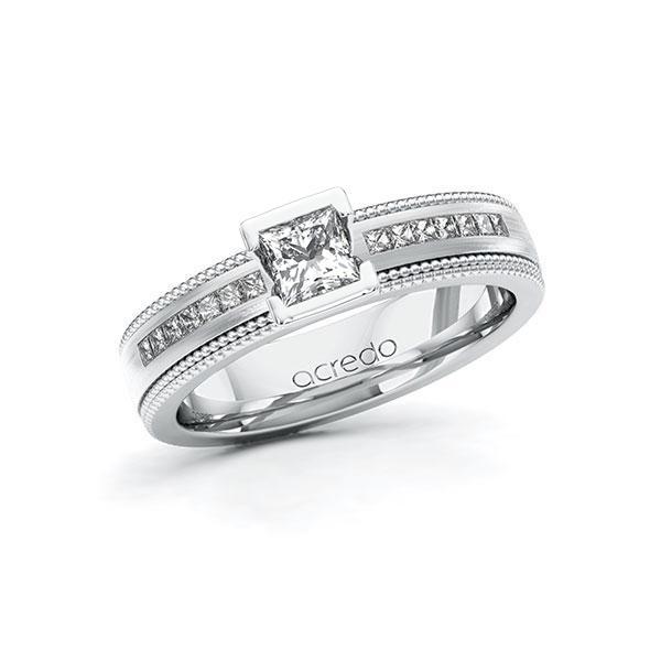 Verlobungsring Diamantring 0,82 ct. G VS & tw, si Weißgold 585
