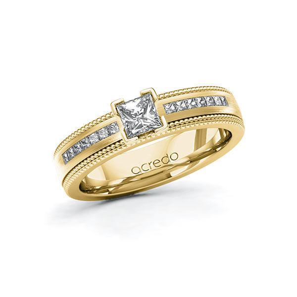 Verlobungsring Diamantring 0,82 ct. G VS & tw, si Gelbgold 585