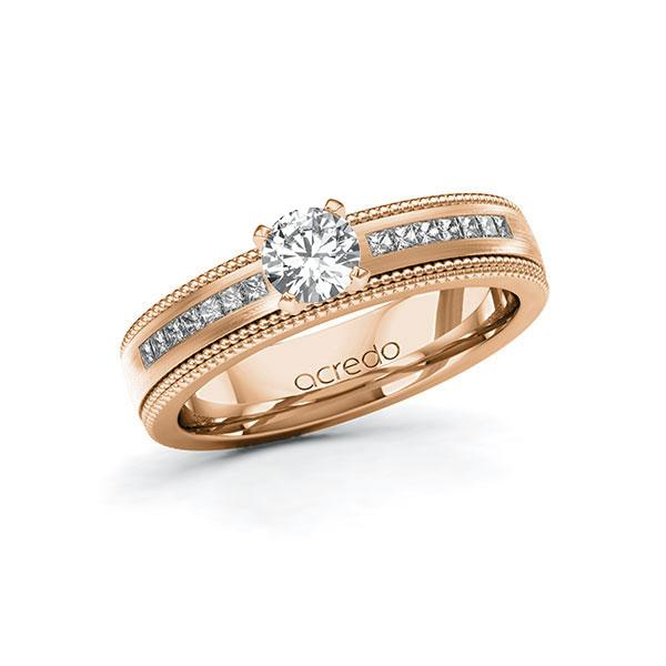 Verlobungsring Diamantring 0,82 ct. G VS & tw, si Rotgold 585