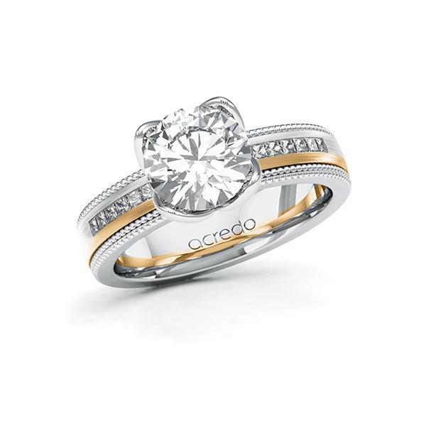 Verlobungsring Diamantring 2,42ct. G VS & tw, si Weißgold 585 Roségold 585