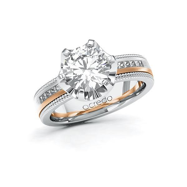 Verlobungsring Diamantring 2,42ct. G VS & tw, si Weißgold 585 Rotgold 585