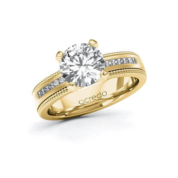 Verlobungsring Diamantring 2,42 ct. G VS & tw, si Gelbgold 585