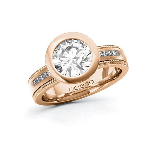 Verlobungsring Diamantring 2,42 ct. G VS & tw, si Rotgold 585