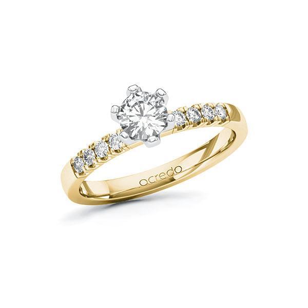 Verlobungsring Diamantring 0,66ct. G SI & tw, si Gelbgold 585 Weißgold 585