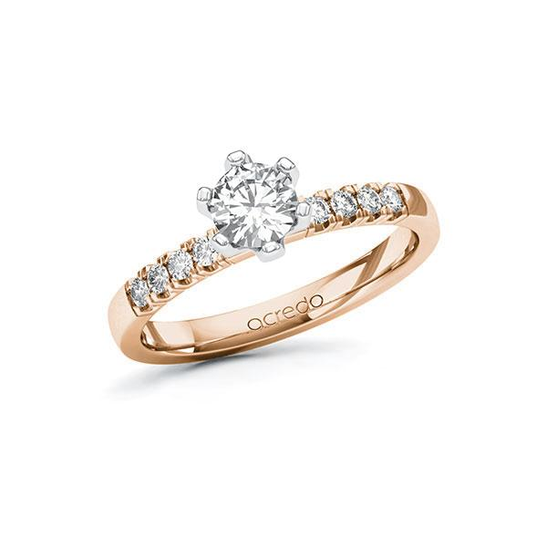 Verlobungsring Diamantring 0,66ct. G SI & tw, si Rotgold 585 Weißgold 585