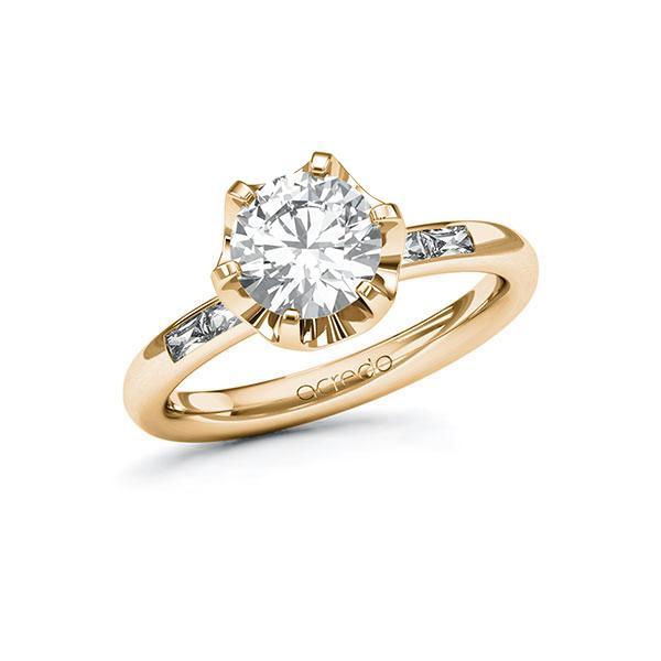 Verlobungsring Diamantring 1,7 ct. G VS & tw, vs Roségold 585