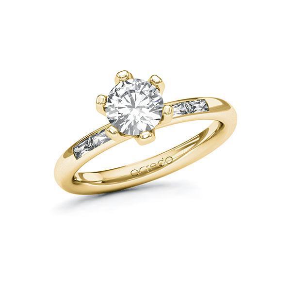 Verlobungsring Diamantring 1,2 ct. G VS & tw, vs Gelbgold 585
