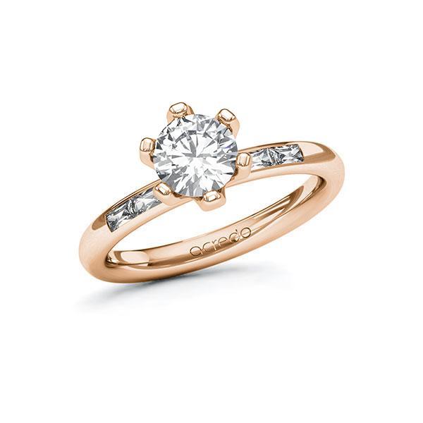 Verlobungsring Diamantring 1,2 ct. G VS & tw, vs Rotgold 585