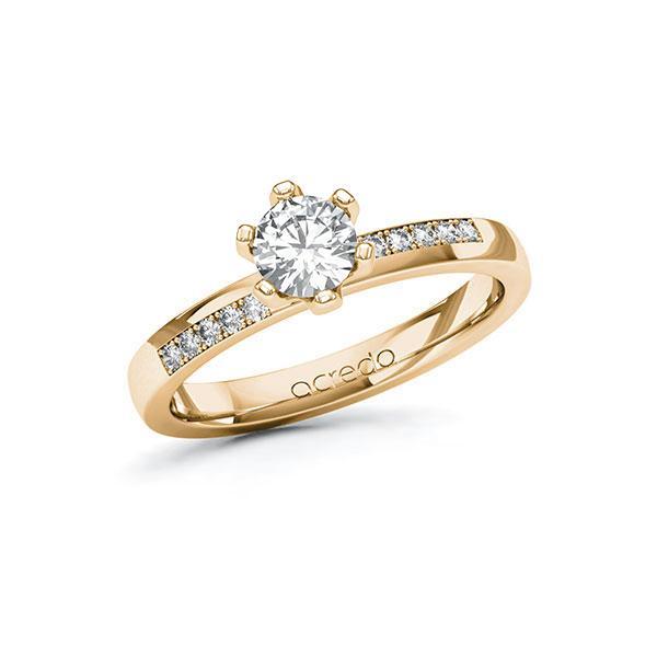 Verlobungsring Diamantring 0,6 ct. G SI & tw, si Roségold 585