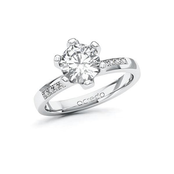 Verlobungsring Diamantring 1,6 ct. G VS & tw, si Weißgold 585