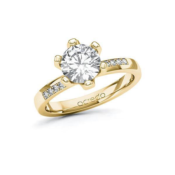 Verlobungsring Diamantring 1,6 ct. G VS & tw, si Gelbgold 585