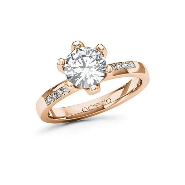Verlobungsring Diamantring 1,6 ct. G VS & tw, si Rotgold 585