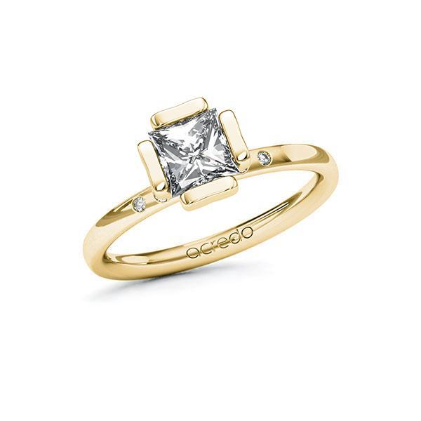 Verlobungsring Diamantring 1,03 ct. G VS & tw, si Gelbgold 585