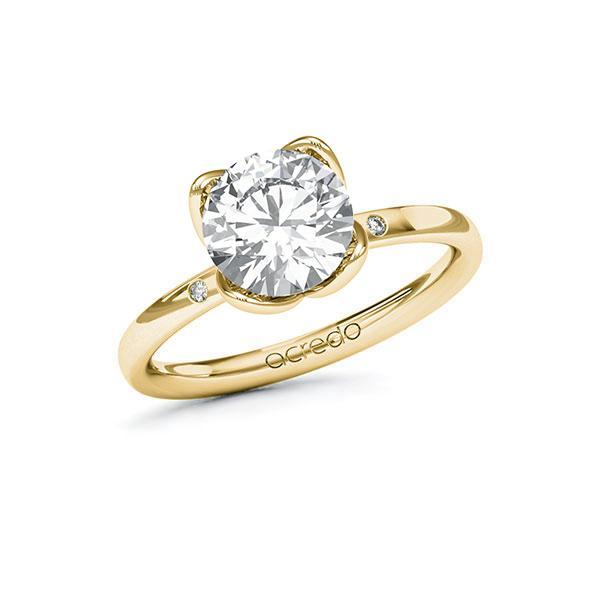 Verlobungsring Diamantring 2,03 ct. G VS & tw, si Gelbgold 585