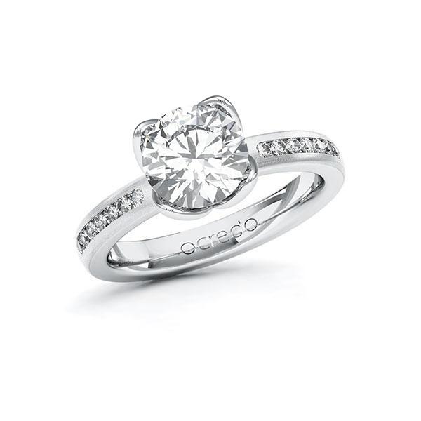 Verlobungsring Diamantring 2,21 ct. G VS & tw, si Weißgold 585