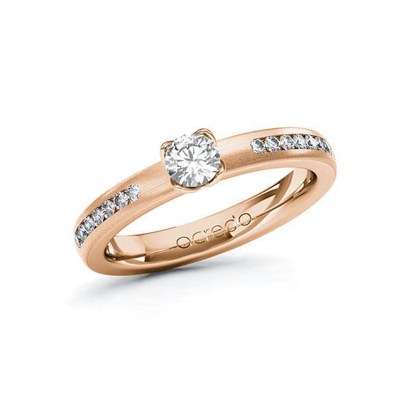 Verlobungsring Diamantring 0,51 ct. G SI & tw, si Rotgold 585