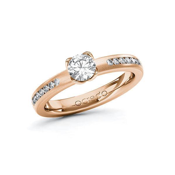 Verlobungsring Diamantring 0,71 ct. G SI & tw, si Rotgold 585