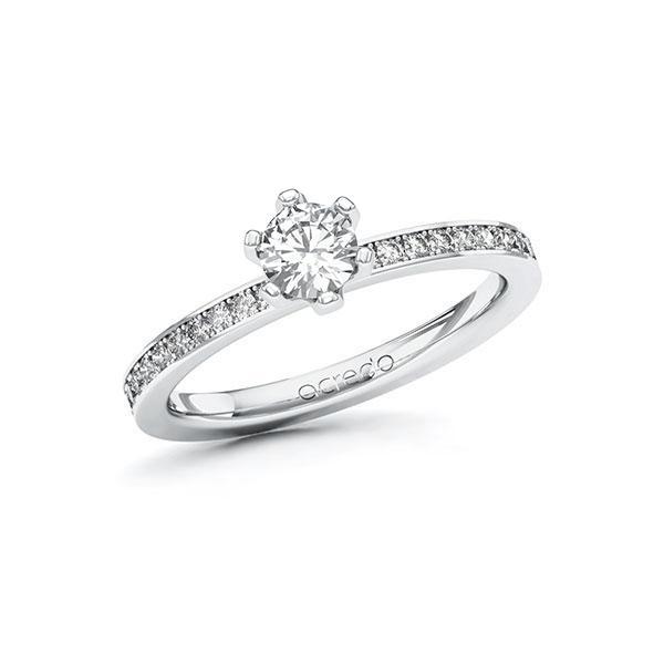 Verlobungsring Diamantring 0,6 ct. G SI & tw, si Weißgold 585
