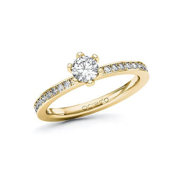 Verlobungsring Diamantring 0,6 ct. G SI & tw, si Gelbgold 585