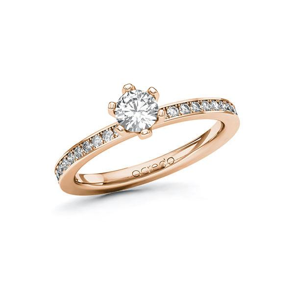 Verlobungsring Diamantring 0,6 ct. G SI & tw, si Rotgold 585
