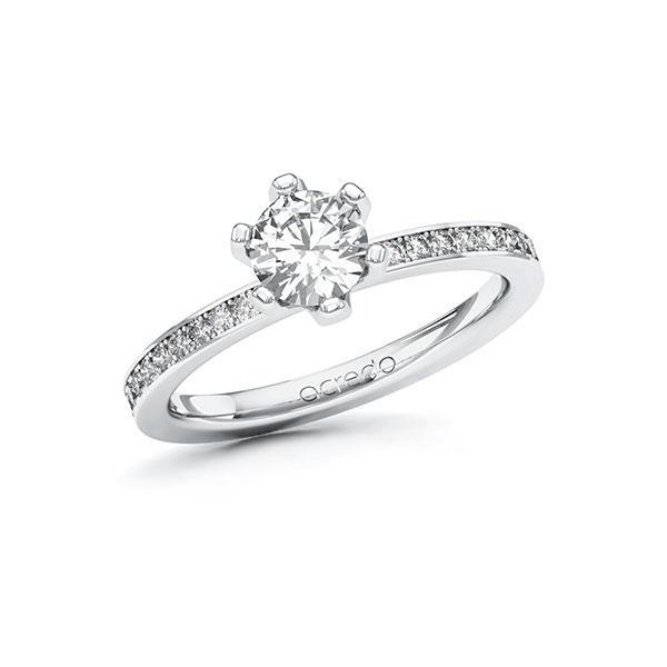 Verlobungsring Diamantring 0,9 ct. G SI & tw, si Weißgold 585