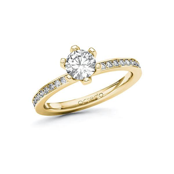 Verlobungsring Diamantring 0,9 ct. G SI & tw, si Gelbgold 585