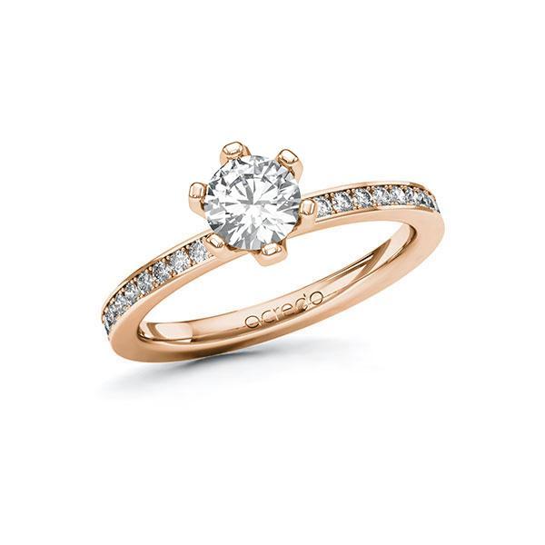 Verlobungsring Diamantring 0,9 ct. G SI & tw, si Rotgold 585
